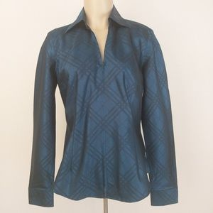 Coldwater Creek Zip-Up Blouse Teal Long Sleeve S